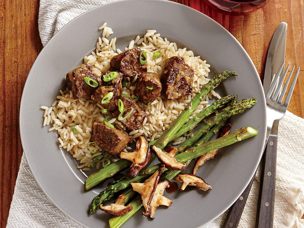 seared sirloin steak bites with miso butter and rice recipe
