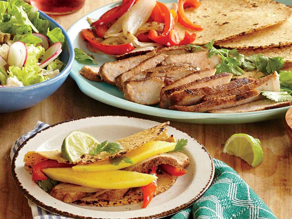 spiced pork and mango tacos recipe