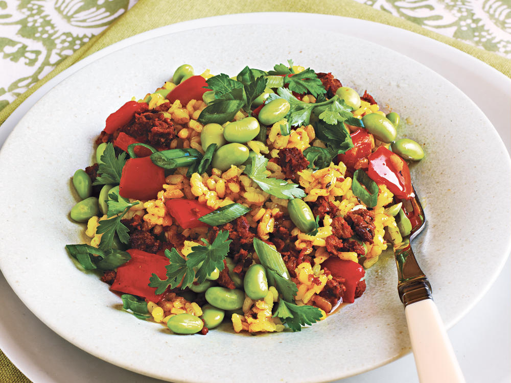 Paella with Soy Chorizo and Edamame recipe