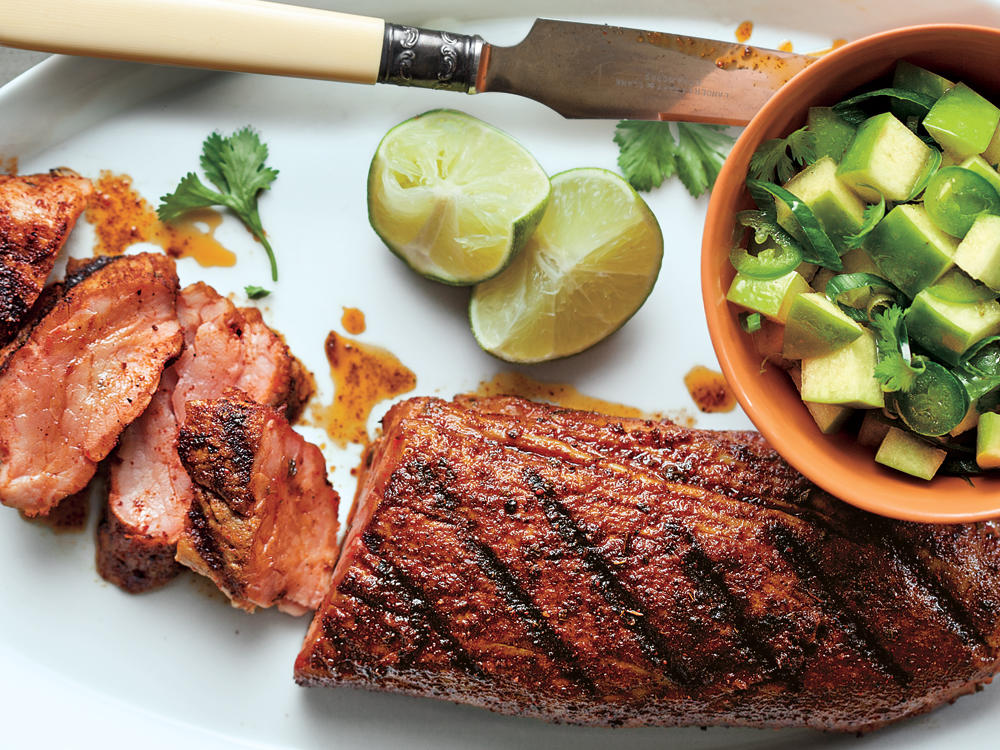 spanish pork with apple citrus salsa recipe