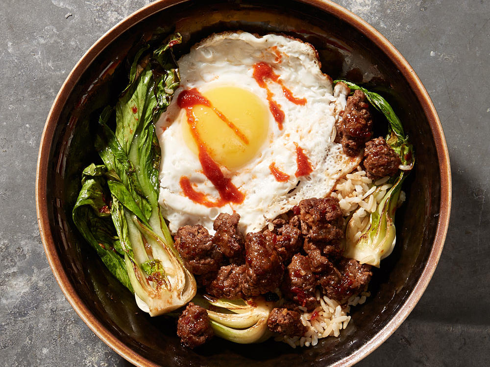 minced beef with bok choy and fried egg recipe