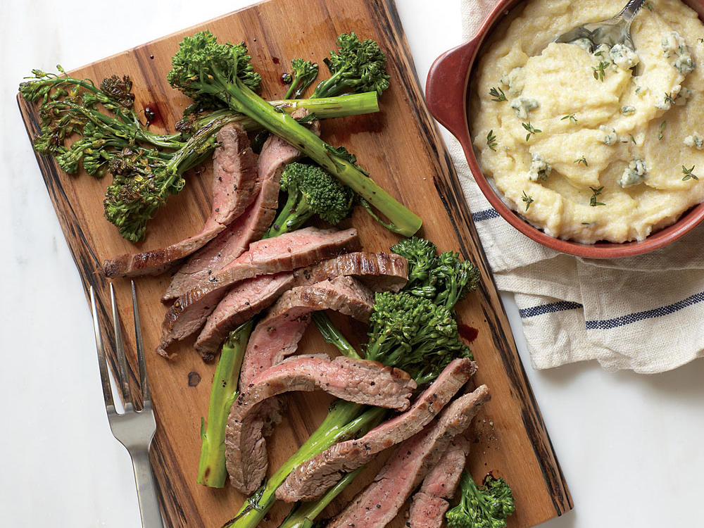 Seared Flank Steak with Blue Cheese Polenta