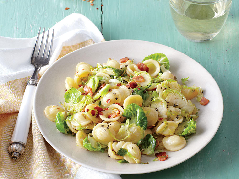 Pasta with Bacon, Shredded Brussels Sprouts, and Lemon Zest