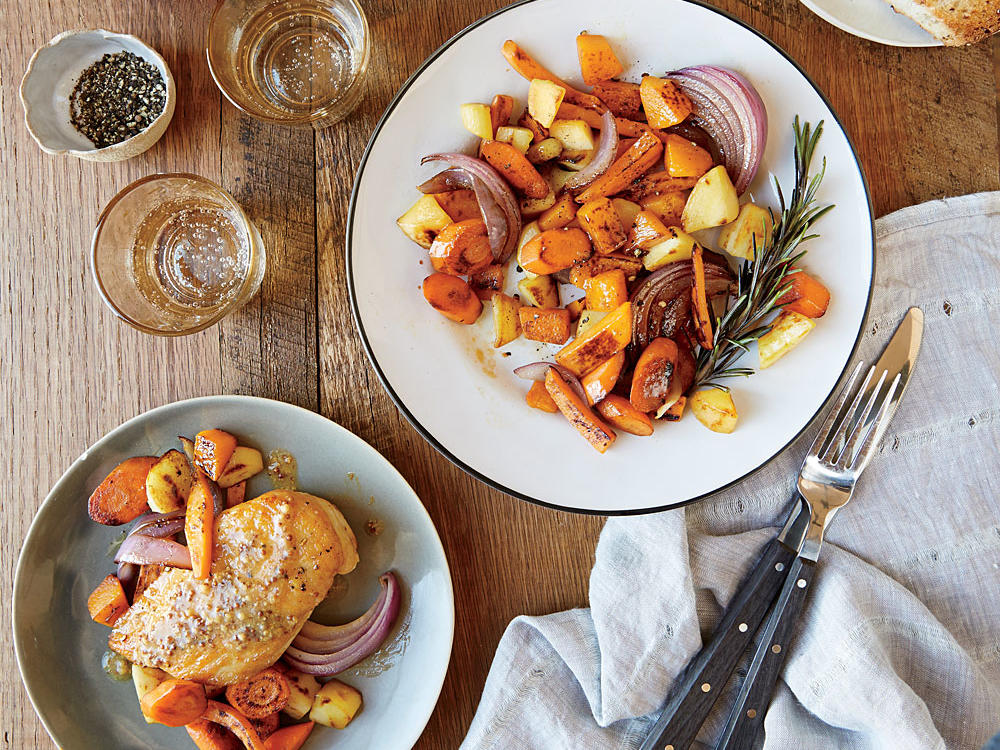 1. Mustard-Glazed Chicken with Roasted Vegetables