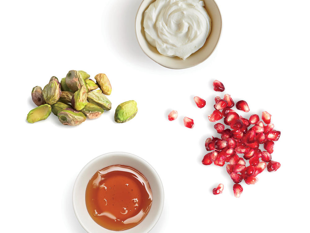 pomegranate pistachio and cream pancake topping