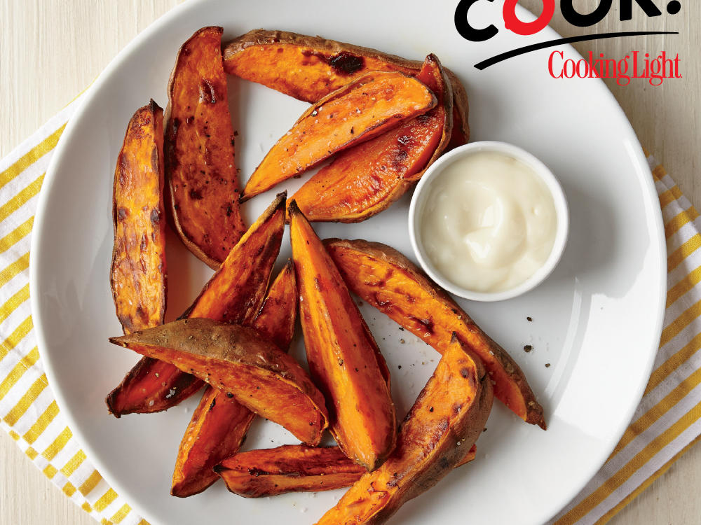 A quick two-step process of microwave-steaming then roasting creates golden-brown sweet potato wedges that make for a versatile side dish or snack.