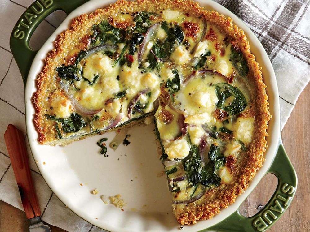 Spinach and Feta Quiche with Quinoa Crust