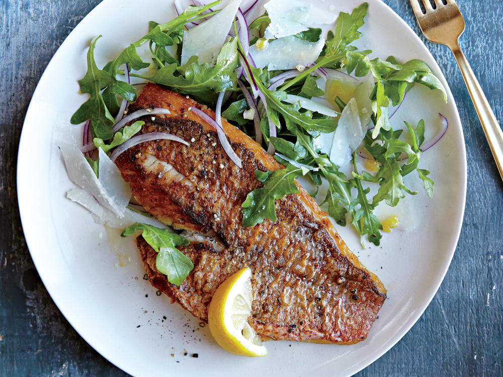 Red Snapper with Arugula Salad recipe