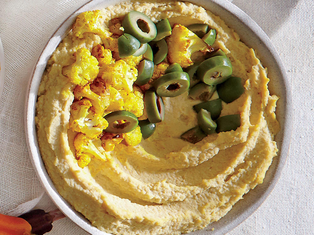 Cauliflower Hummus with Green Olives