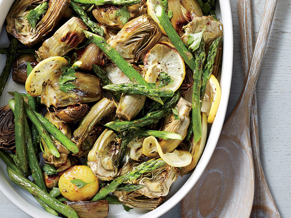 Roasted Asparagus and Baby Artichokes recipe
