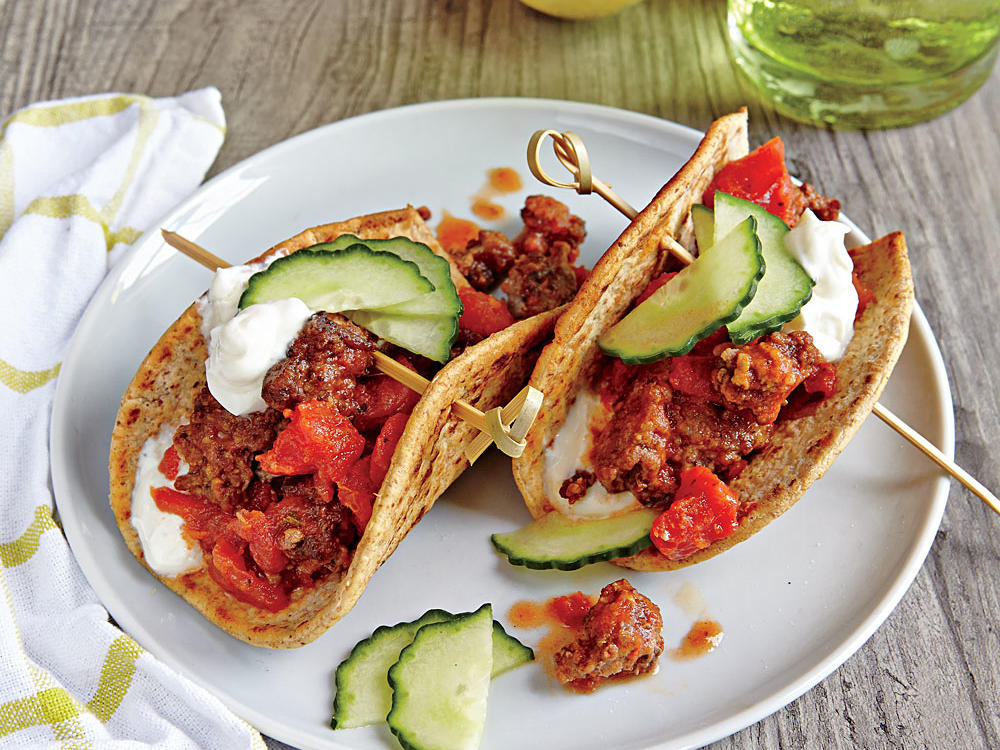 Ground lamb would be equally delicious in these fun gyro-inspired tacos. If you can't find the flatbreads we call for, you can use corn tortillas instead.