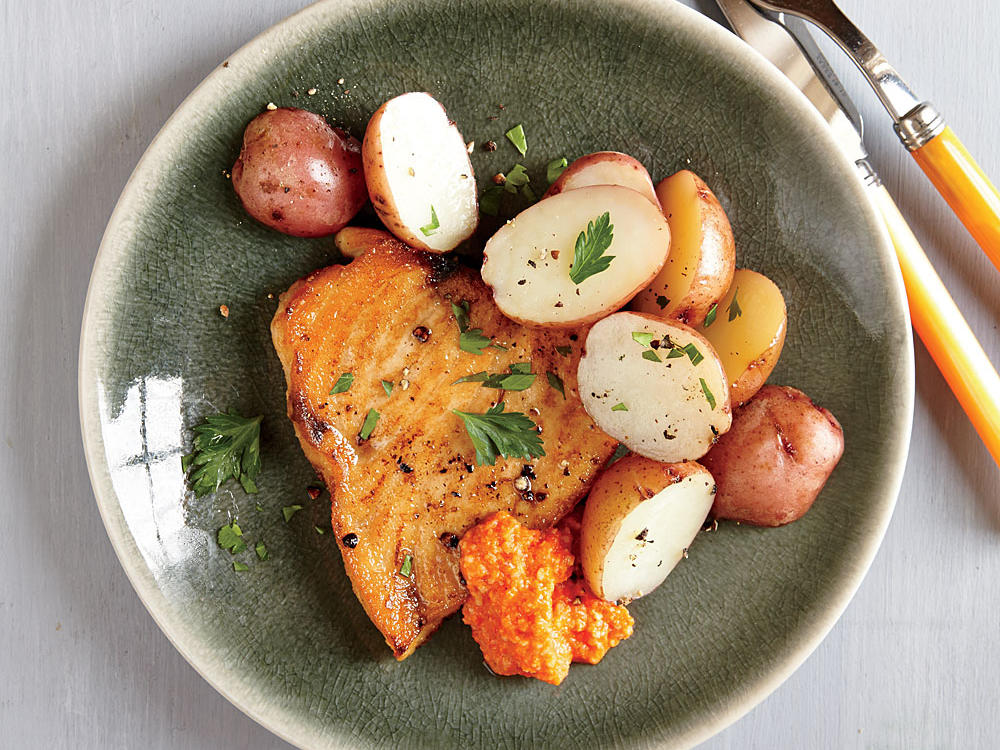 Swordfish with Red Pepper Sauce and Potatoes