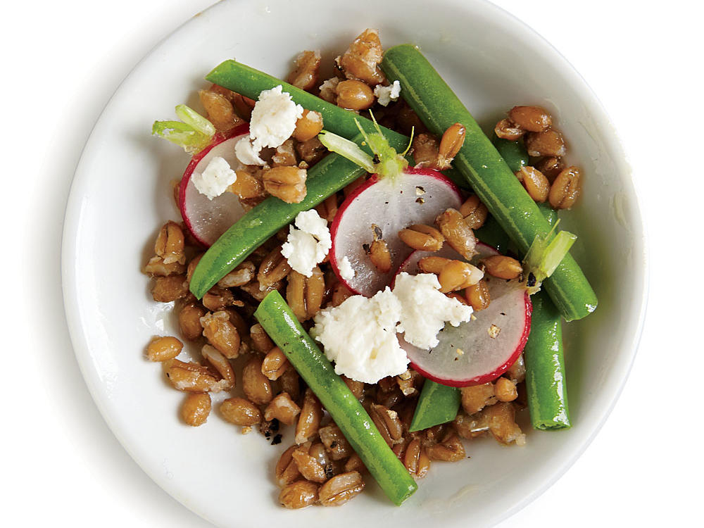 Crunchy veggies and creamy feta pair wonderfully with nutty farro.