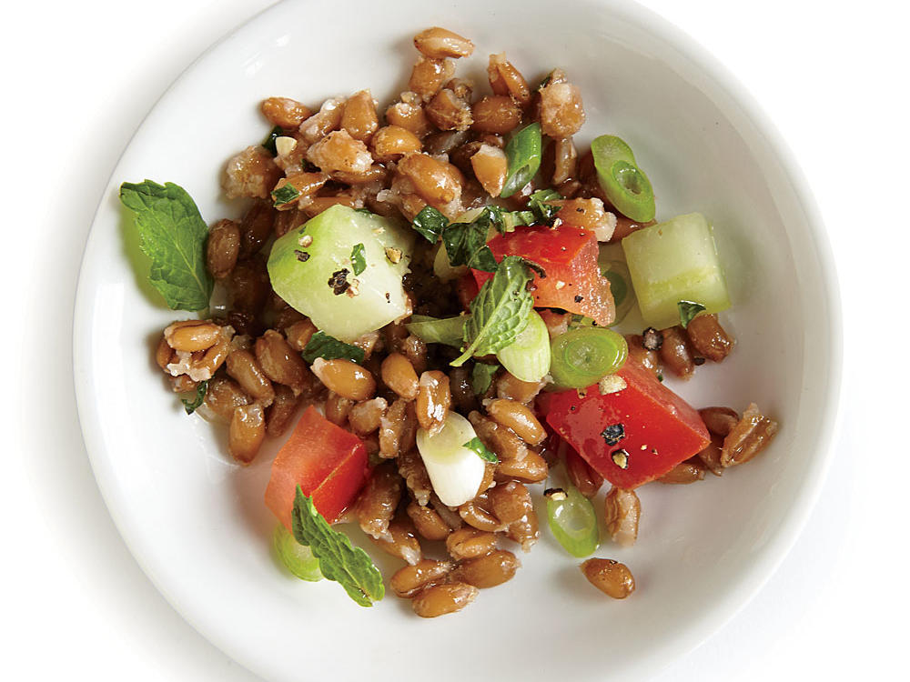 Farro replaces bulghur in this tasty twist on tabbouleh.