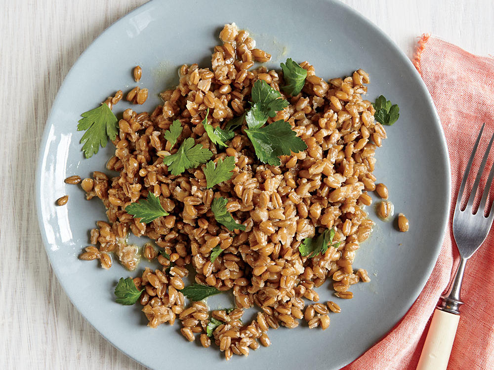 Precooked farro makes a quick and hearty base for side salads.