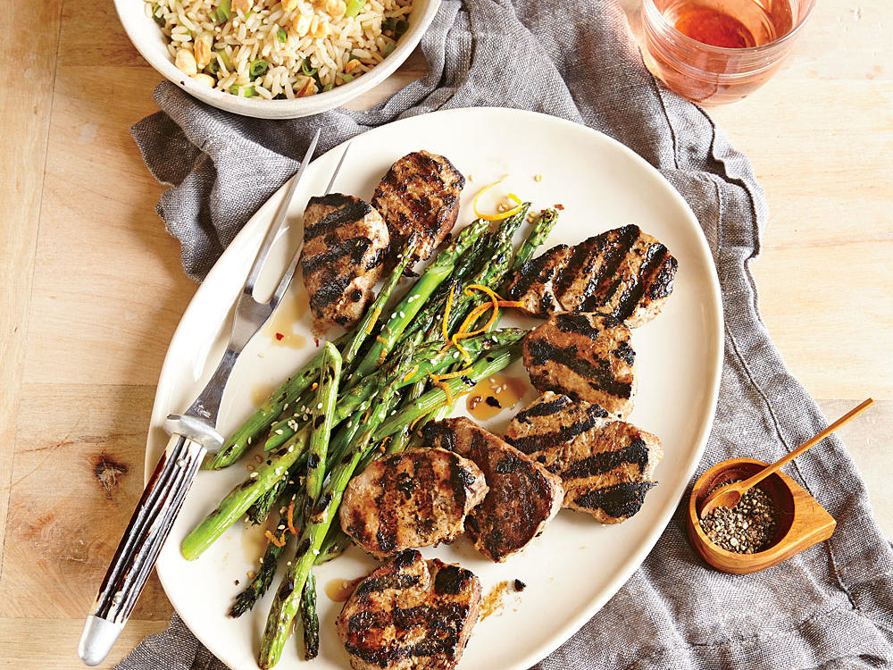 1. Grilled Pork Tenderloin with Orange-Sesame Asparagus and Rice