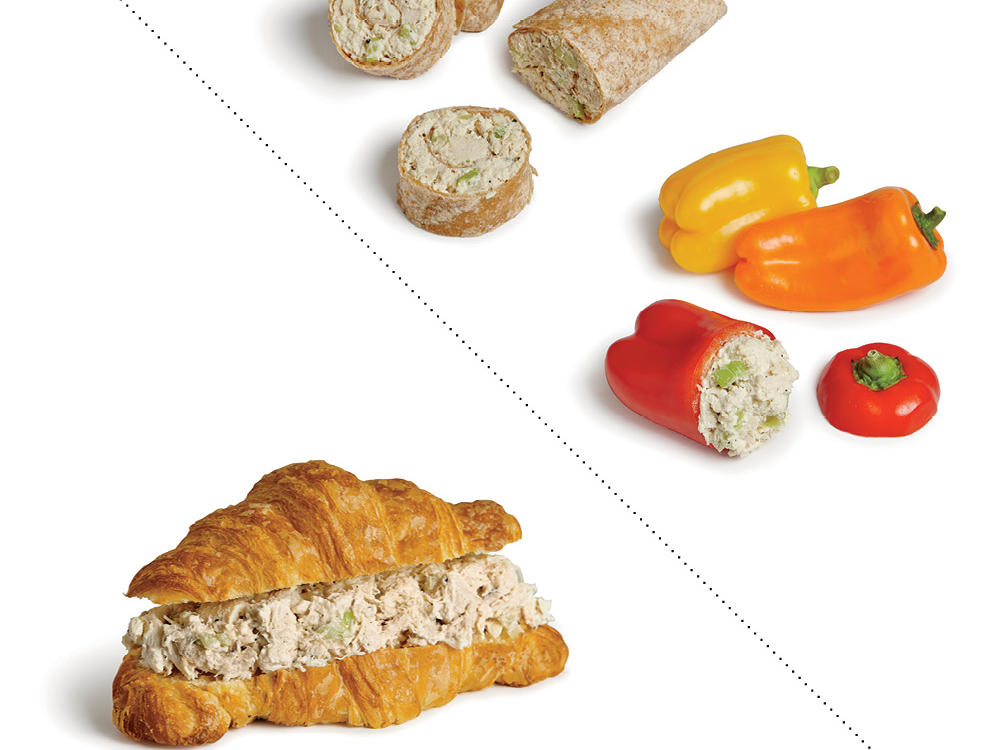 Instead of a Chicken Salad Croissant, Spread it on a Whole-Wheat Tortilla or Stuff it in Mini Bell Peppers