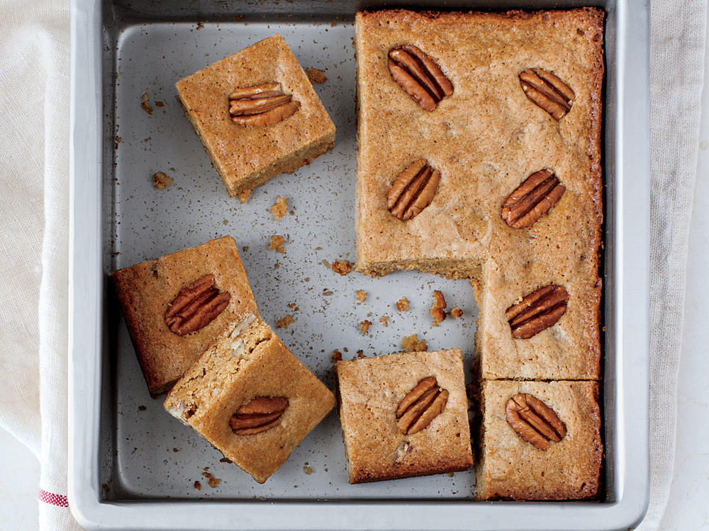 Blondies are simply brownies without the chocolate. A light-colored metal pan is your best bet for even baking and cakey, moist blondies.
