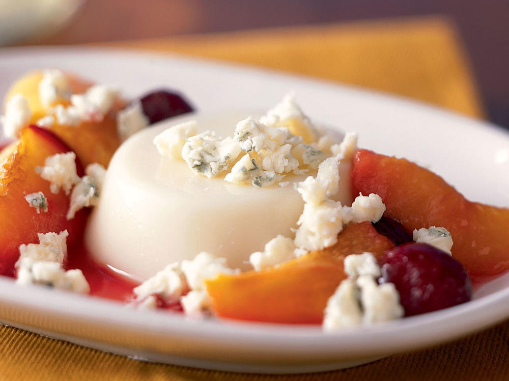Vermont Recipe: Panna Cotta with Vermont Blue Cheese and Roasted Stone Fruit