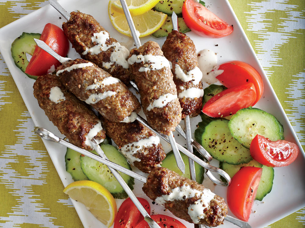 Middle Eastern Kofta Kebabs with Lemon-Tahini Sauce