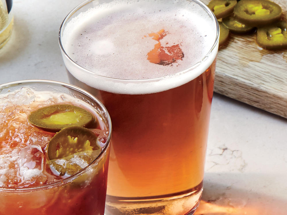 Sweet and bright red, hibiscus syrup combines with Mexican lager beer (such as Sol or Tecate) to make a unique cocktail.