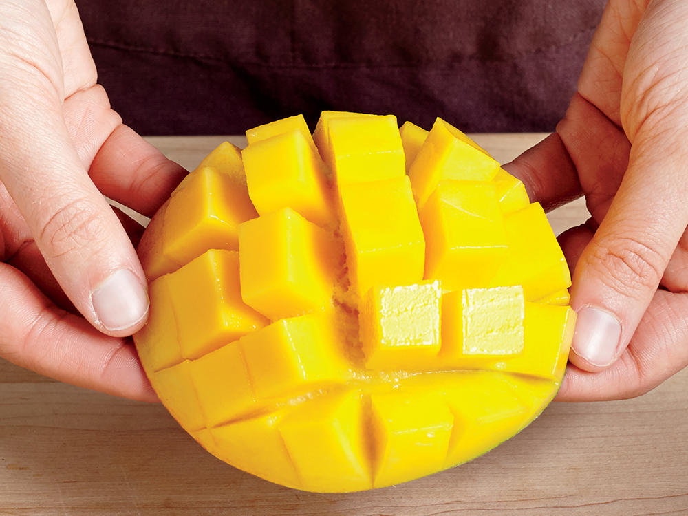 How to cube a mango cooking light step 3 invert mango slice ccuart Gallery