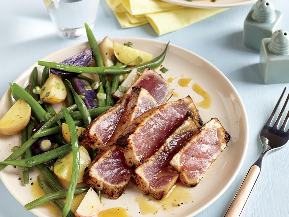 Maple and Mustard Seared Tuna Steaks