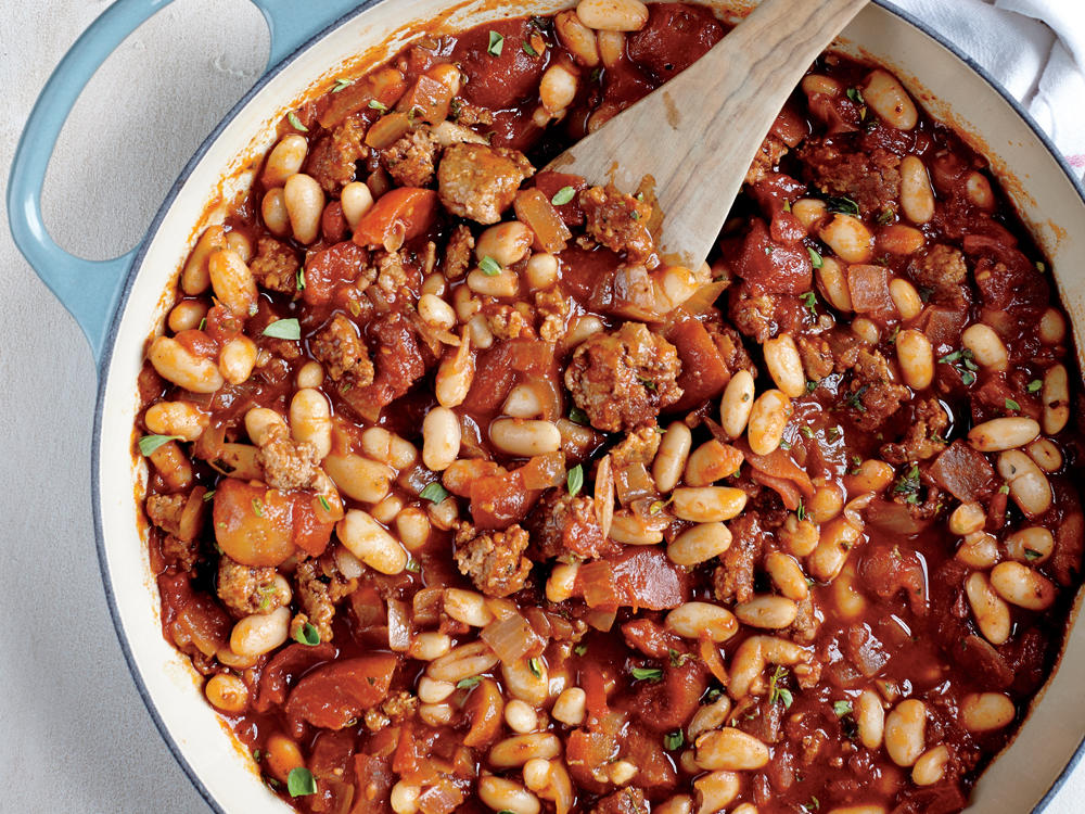 Sausage, Cannellini, and Tomato Ragout