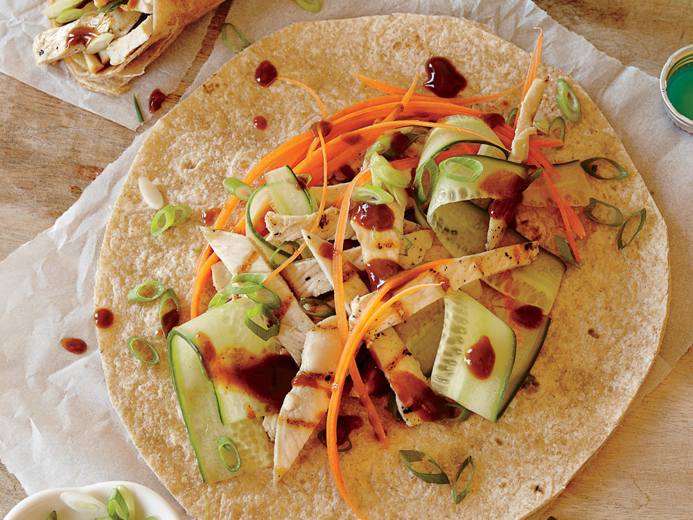 Salty-sweet and full of fresh crunch, these wraps are a tasty way to pack in a serving of vegetables that the kids are sure to love.