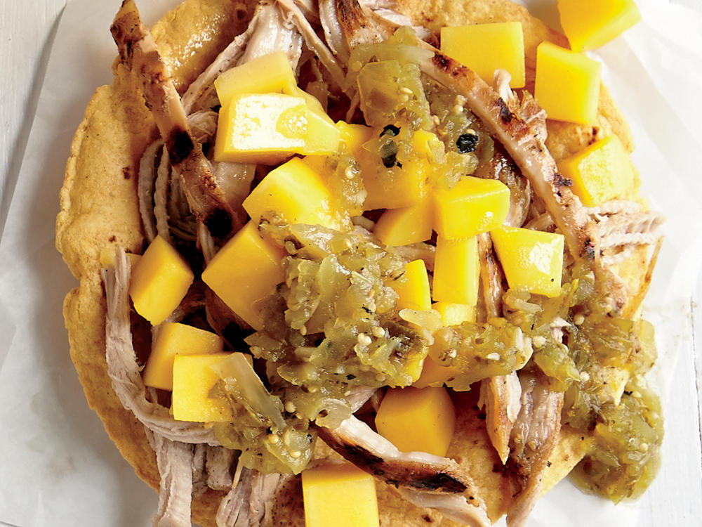 Tangy Pork and Mango Tostada