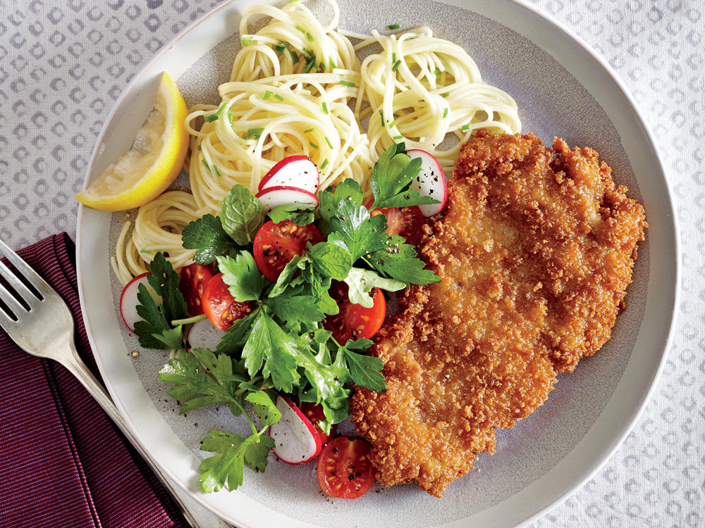Crispy Chicken Cutlets with Butter-Chive Pasta