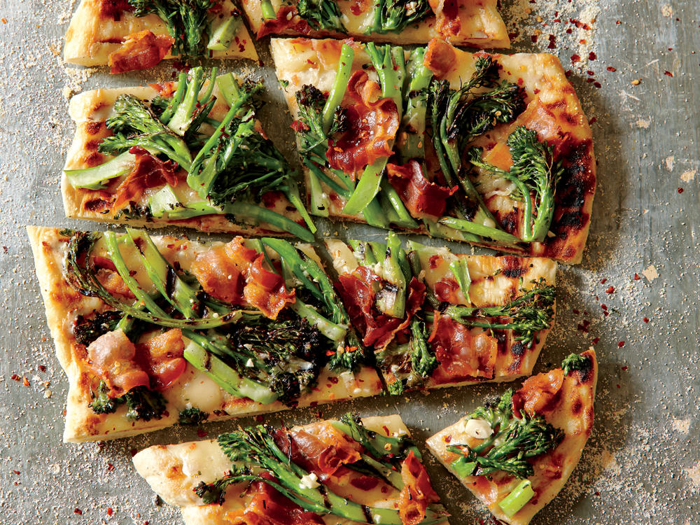 Oregon Recipe: Grilled Purple Sprouting Broccoli and Bacon Pizza