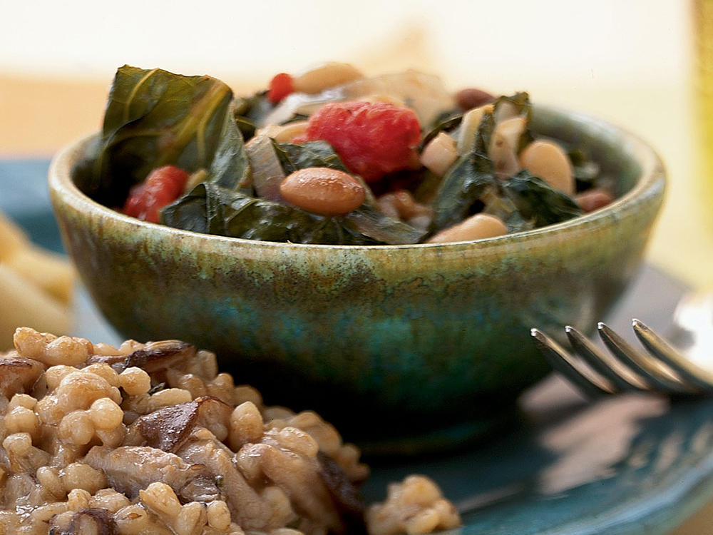 Smothered Beans with Leeks and Collard Greens