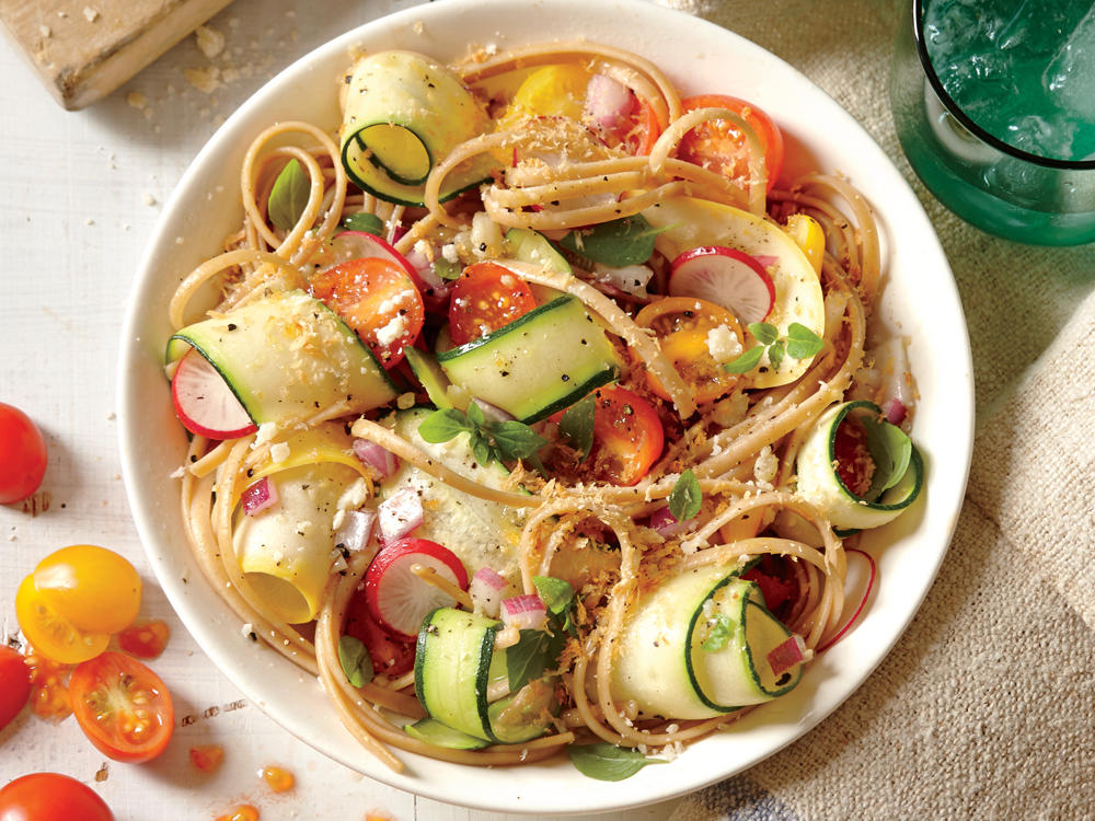 No-cook veggies make this easy dish a weeknight favorite. Peeling zucchini and squash into ribbons makes them fun for kids.