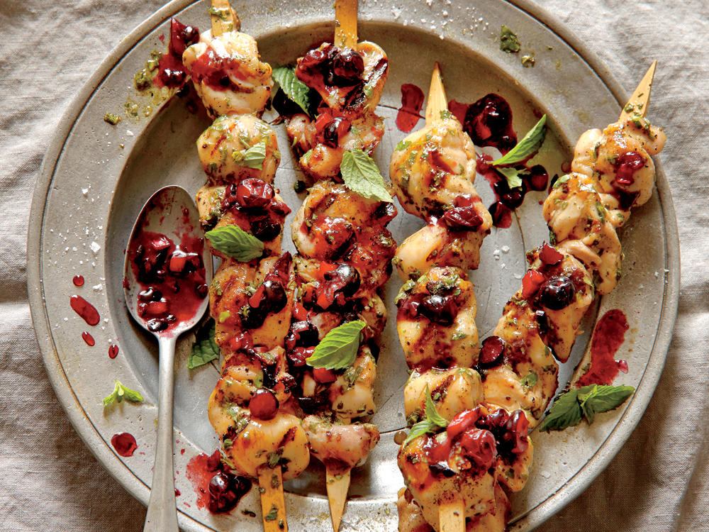 Lemon-Herb Chicken Skewers with Blueberry-Balsamic Salsa