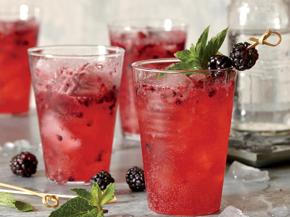 Marionberries, an exceptionally juicy, slightly tart blackberry variety developed by Oregon State University, are perfect for this fizzy summer refresher. You can also use regular blackberries.