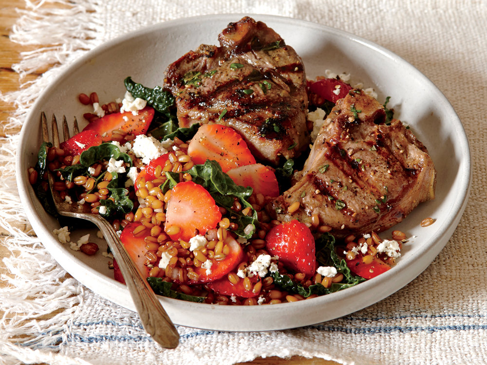 Grilled Lamb Chops with Wheat Berry, Strawberry, and Lacinato Kale Salad