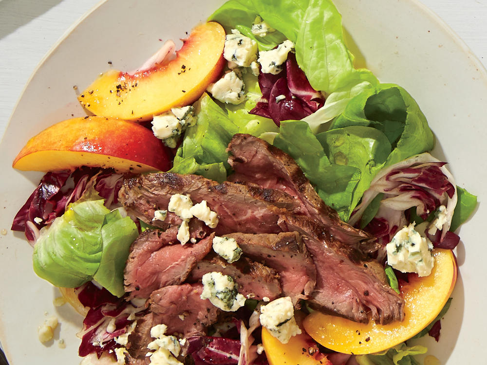 Steak Salad with Nectarines, Radicchio, and Blue Cheese