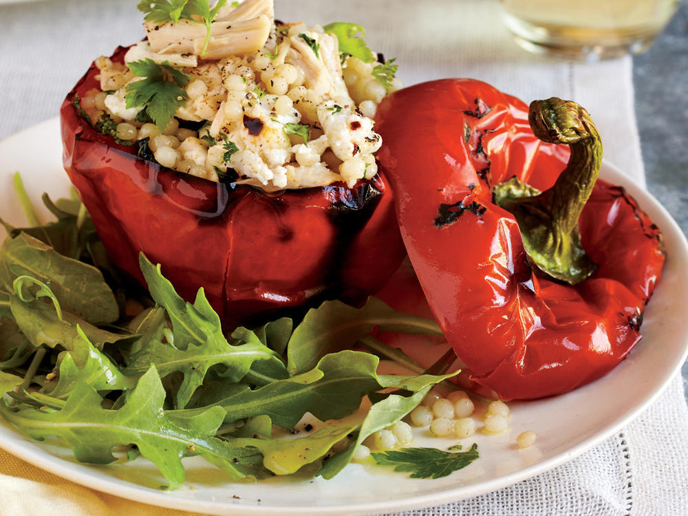 Starter Dish: Chicken and Couscous Stuffed Bell Peppers