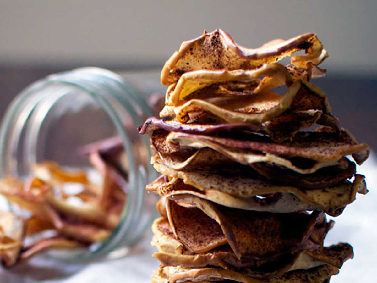 These delicious apple chips really satisfy your sweet tooth at snack time. Stick to cinnamon, or enjoy them alone. Feeling more adventurous? Try our pumpkin and chai spice variations.