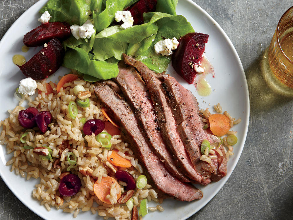 Healthy and romantic dinner recipes for two cooking light grilled flank steak with cherry pecan rice forumfinder Images