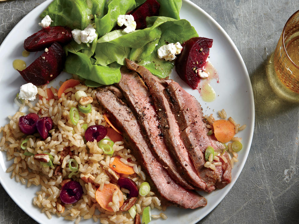 Instead of flank steak, you can also use 2 (6-ounce) skinless, boneless chicken breast halves, grilled 5 to 6 minutes on each side. Serve with our Butter Lettuce and Beet Salad.