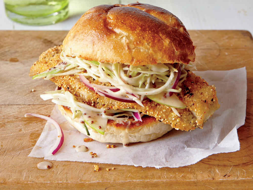 Cornmeal-Dusted Catfish Sandwiches with Tangy Slaw