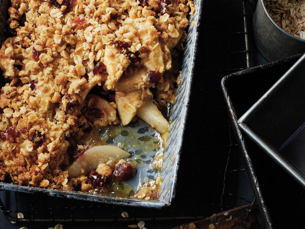 The tart and tangy cranberries complement the sweet apples and pears in this warm, streusel-topped delight. Try serving it à la mode as the grand finale of a holiday dinner.