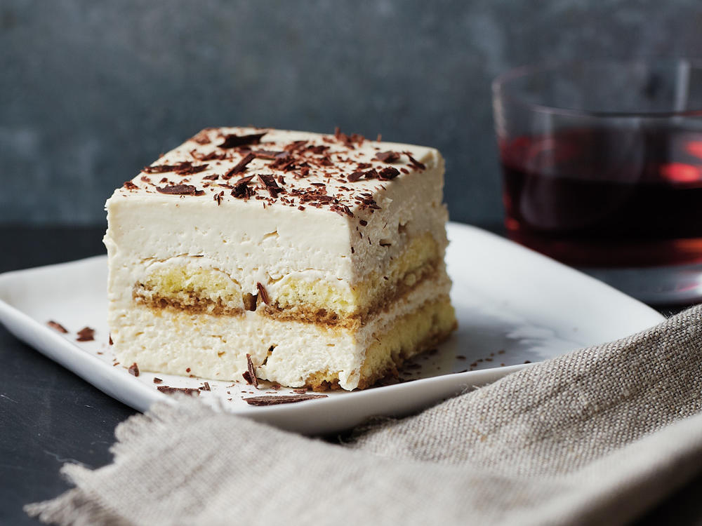 Blending mascarpone cheese with fat-free cream cheese is the key to this divine tiramisu. The richness and flavor of the mascarpone cheese still shines through but with less saturated fat and fewer calories than traditional recipes. We used gluten-free ladyfingers so that everyone could enjoy this decadent dessert.
