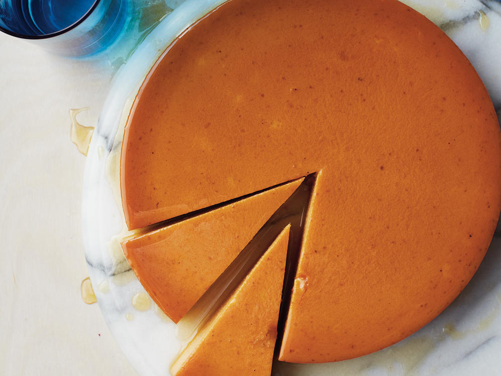Pumpkin lends a unique and mouthwatering spin to the classic custard layered dessert with a soft caramel top. This flan is convenient—it can be made in advance and kept refrigerated until ready to serve.