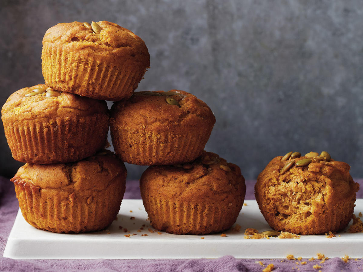 The onset of autumn is worth celebrating, so why not make a huge batch of mulled apple cider and serve it with these spiced pumpkin muffins? The pumpkin adds gorgeous color, flavor, and moisture as well as fiber, vitamin A, and potassium.