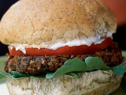 In addition to providing protein and fiber, lentils are a significant source of folic acid. Even more folic acid comes from the wheat germ used to bind the burgers, and from the whole wheat buns. These burgers pack 143 micrograms of folic acid—more than one-quarter of a day's recommendation. Tzatziki, the garlicky Greek yogurt sauce, makes a healthful and tasty alternative to mayonnaise.