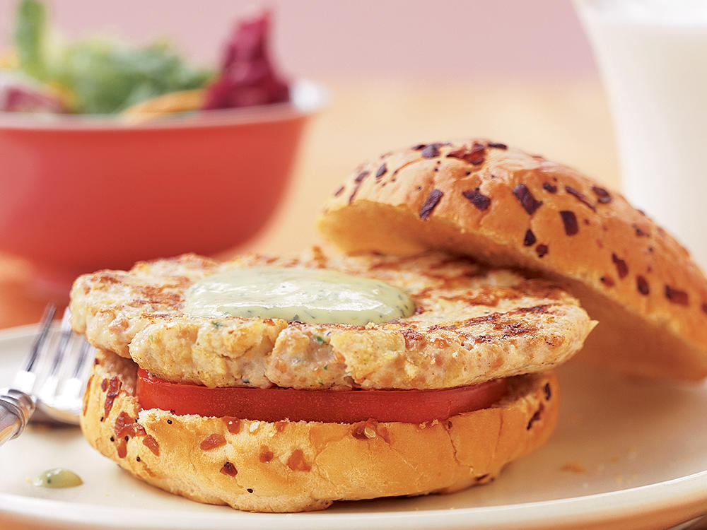 Chicken-Chorizo Burgers with Avocado Mayonnaise