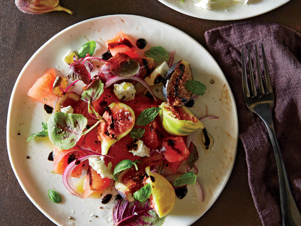 A pop of acidic vinaigrette balances ultrasweet figs. Balsamic glaze is a syrup of concentrated, cooked-down, sweetened balsamic vinegar; it adds a sweet and tangy element to this refreshing salad. Look for it near the vinegar.